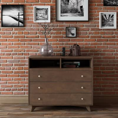 Brown Media Chest Wood Dressers