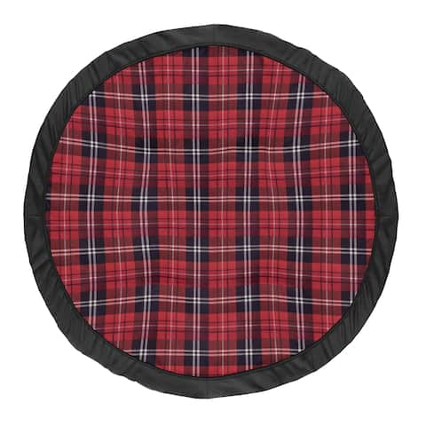 Sweet Jojo Designs Red and Black Woodland Plaid Flannel Rustic Patch Collection Baby Tummy Time Playmat