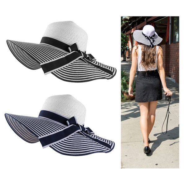 bb59aade Women Foldable Stripped Bow Tie Wide Brimmed Classic Straw Visor Sun Hat