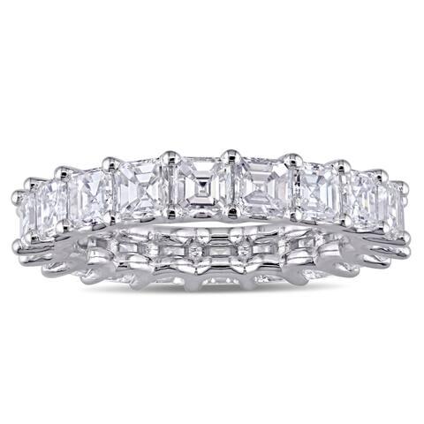 Miadora 18k White Gold 4 1/10ct TDW Asscher-Cut Diamond Eternity Band Ring
