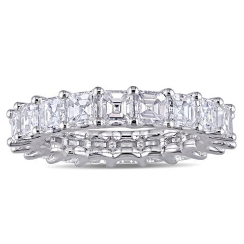 Miadora 18k White Gold 4 1/10ct TDW Asscher-Cut Diamond Eternity Band Ring