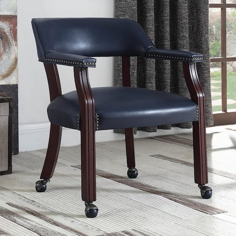 Classic Blue Office Guest Reception Chair with Wheel Casters