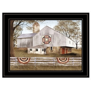 """American Star Quilt Block Barn"" by Billy Jacobs, Ready to Hang Framed Print, Black Frame"