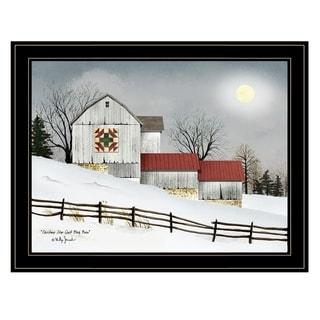 """""""Christmas Star Quilt Block Barn"""" by Billy Jacobs, Ready to Hang Framed Print, Black Frame"""