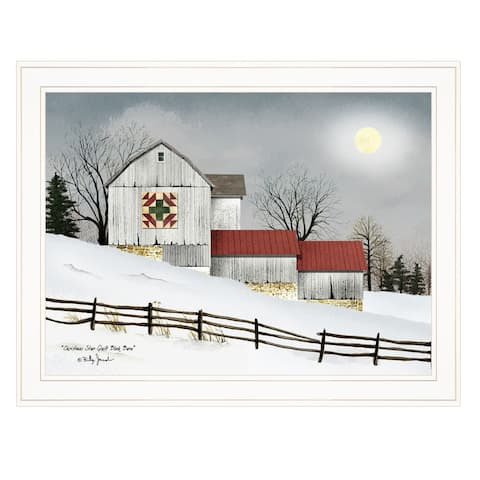 """Christmas Star Quilt Block Barn"" by Billy Jacobs, Ready to Hang Framed Print, White Frame"