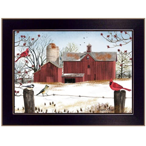 """""""Winter Friends"""" of Birds by Billy Jacobs, Ready to Hang Framed Print, Black Frame"""