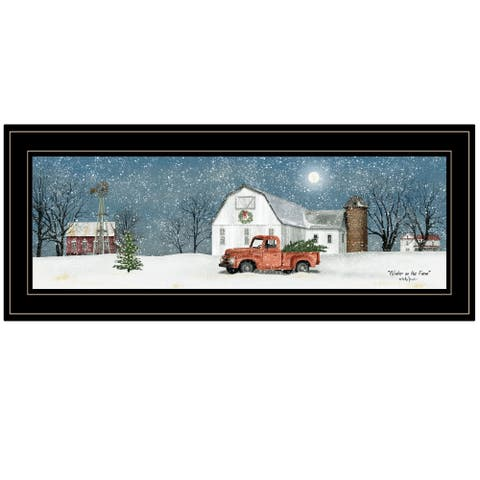 """""""Winter on The Farm"""" by Billy Jacobs, Ready to Hang Framed Print, Black Frame"""