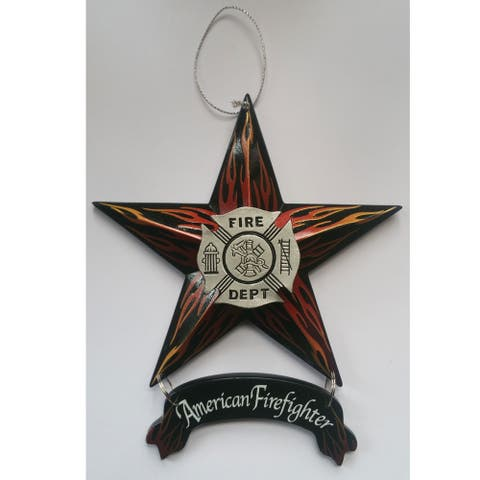 """""""American Firefighter Star Ornament 6-pack"""" by the designers at Trendy Décor 4U. Arrives ready to hang. - Multi"""