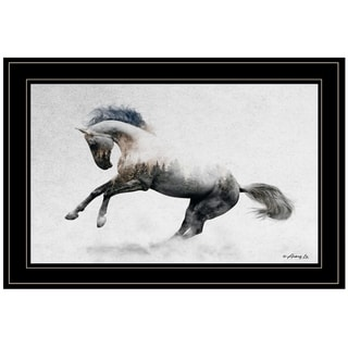 """White Stallion"" by Andreas Lie, Ready to Hang Framed Print, Black Frame"