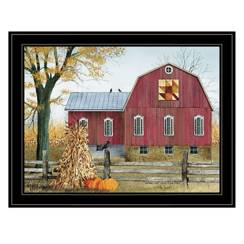 """""""Autumn Leaf Quilt Block Barn"""" by Billy Jacobs, Ready to Hang Framed Print, Black Frame"""