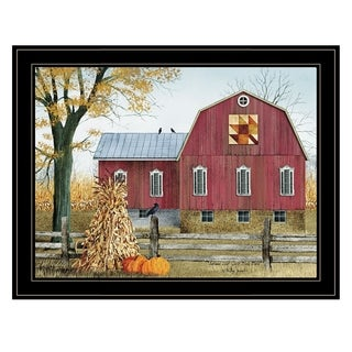 """Autumn Leaf Quilt Block Barn""  by Billy Jacobs, Ready to Hang Framed Print, Black Frame"