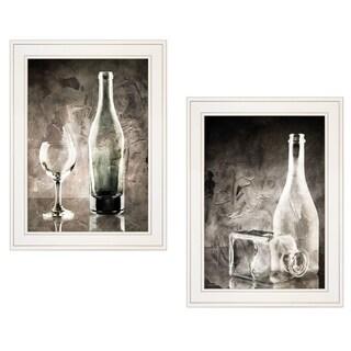 """Moody Gray Glassware Still Life"" 2-Piece Vignette by Bluebird Barn, White Frame"