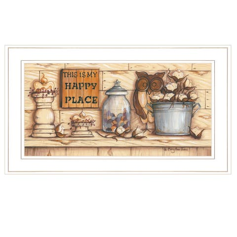 """""""My Happy Place"""" by Mary Ann June, Ready to Hang Framed Print, White Frame"""