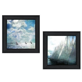 """Sailboat Marina"" 2-Piece Vignette by Bluebird Barn, Black Frame"