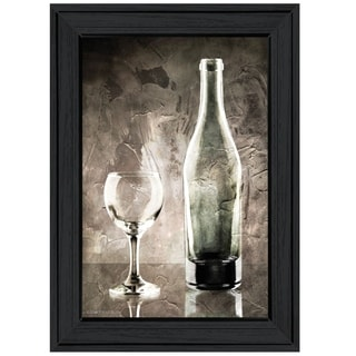 """Moody Gray Wine Glass Still Life"" by Bluebird Barn, Ready to Hang Framed Print, Black Frame"