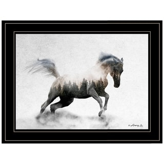 """Running White Stallion"" by Andreas Lie, Ready to Hang Framed Print, Black Frame"
