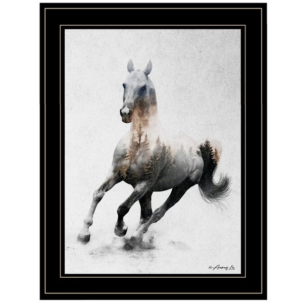 """Galloping Stallion"" by Andreas Lie, Ready to Hang Framed Print, Black Frame"