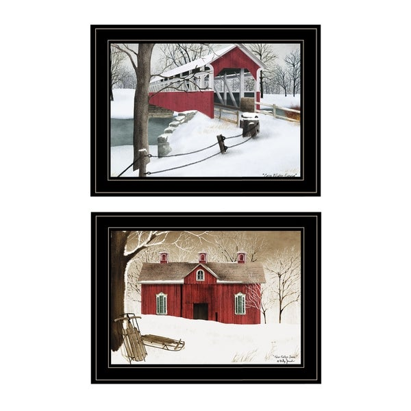 """Winter Evening"" 2-Piece Vignette by Billy Jacobs, Black Frame"