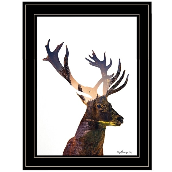 """Deer in the Forest"" by Andreas Lie, Ready to Hang Framed Print, Black Frame"