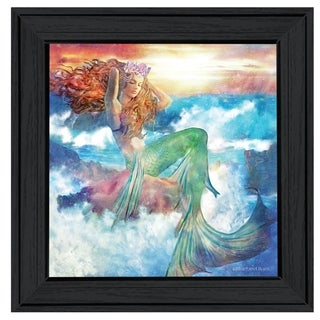 """Sunset Mermaid"" by Bluebird Barn, Ready to Hang Framed Print, Black Frame"