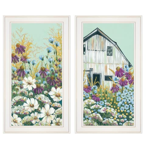 """Floral Field"" 2-Piece Vignette by Michele Norman, White Frame"