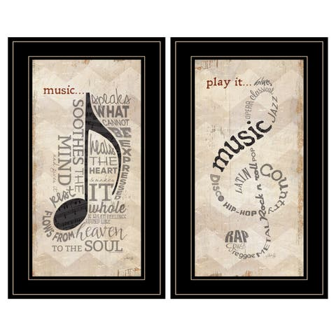 """""""Music"""" Collection 2-Piece Vignette By Marla Rae, Black Frame"""