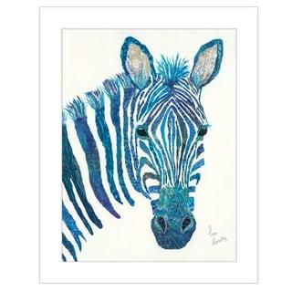 """Blue Zebra"" by Lisa Morales, Ready to Hang Framed Print, White Frame"