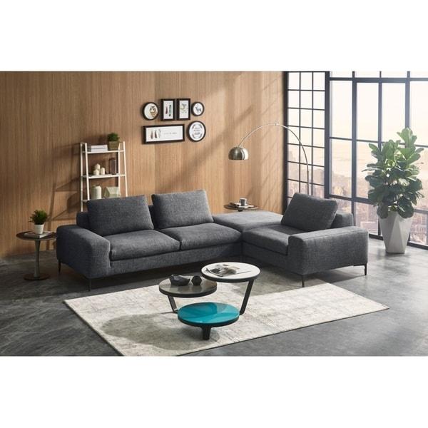 Divani Casa Cascade Modern Dark Grey Fabric Modular Sectional Sofa