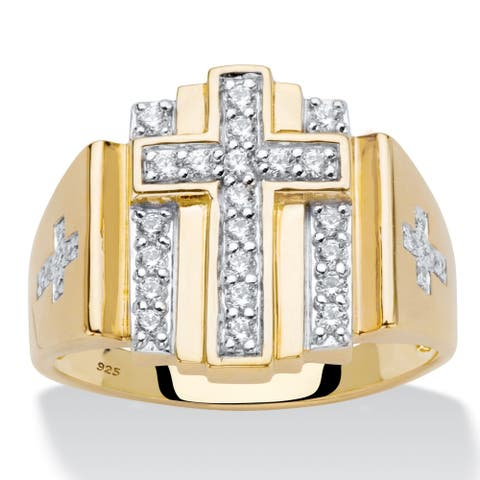 Men's Gold over Sterling Silver Ring Cubic Zirconia (1/2 cttw TDW)