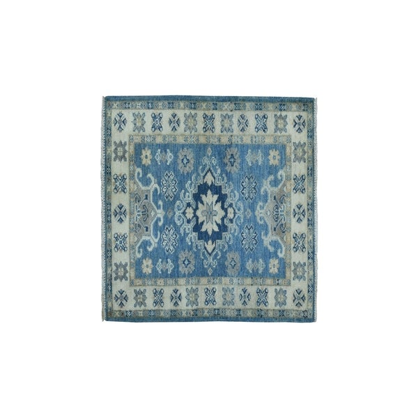 "Shahbanu Rugs Hand-Knotted Pure Wool Vintage Look Kazak Oriental Rug (2'1"" x 3'0"") - 2'1"" x 3'0"""