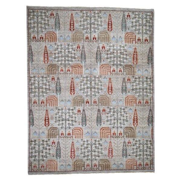 """Shahbanu Rugs Peshawar Willow And Cypress Tree Design Hand-Knotted Oriental Rug (8'1"""" x 9'8"""") - 8'1"""" x 9'8"""""""