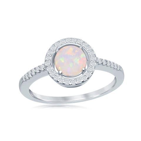 La Preciosa Sterling Silver/Rose Gold Plated Round White Created Opal Halo Cubic Zirconia Ring