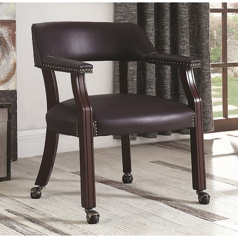 Classic Burgundy Office Guest Reception Chair with Wheel Casters