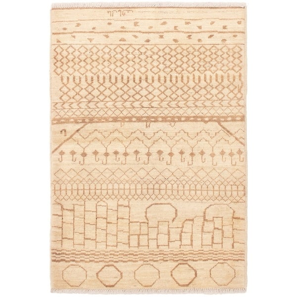 ECARPETGALLERY Hand-knotted Tangier Cream, Tan Wool Rug - 4'4 x 6'3