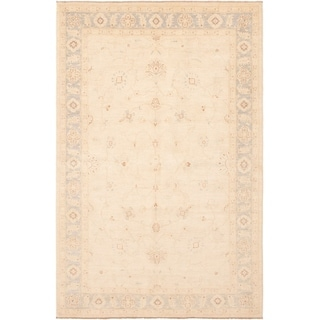 ECARPETGALLERY Hand-knotted Peshawar Finest Cream Wool Rug - 6'0 x 9'3