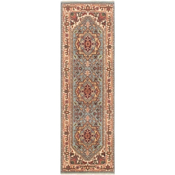 ECARPETGALLERY Hand-knotted Serapi Heritage Light Blue Wool Rug - 2'7 x 8'1