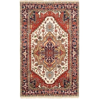 ECARPETGALLERY Hand-knotted Serapi Heritage Cream Wool Rug - 4'8 x 7'9