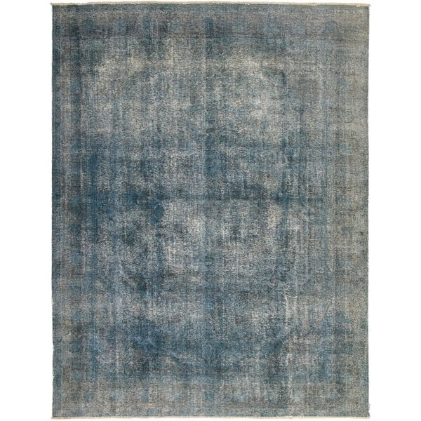 ECARPETGALLERY Hand-knotted Color Transition Dark Blue Wool Rug - 9'8 x 12'6