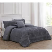Jaxton Solid Smocked Comforter Set with Decorative Pillow