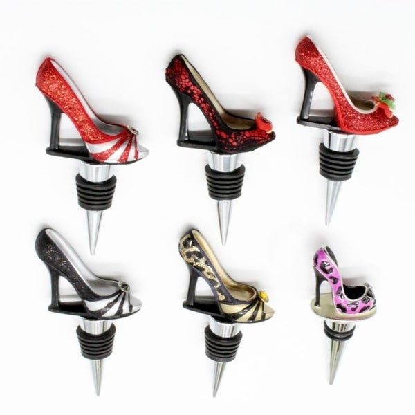 Stylish Shoe Multicolor Metal and Ceramic Wine Stoppers. Opens flyout.