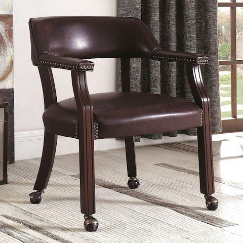 Classic Brown Office Guest Reception Chair with Wheel Casters