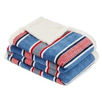 Nautica Center Coast Stripe Ultra Plush Sherpa Throw