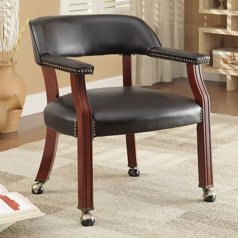 Classic Black Office Guest Reception Chair with Wheel Casters