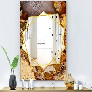Designart 'Sand Close Up' Modern Mirror - Frameless Contemporary Wall Mirror - Brown