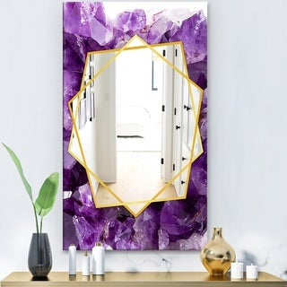 Designart 'Purple Amethyst' Modern Mirror - Frameless Contemporary Wall Mirror - Purple