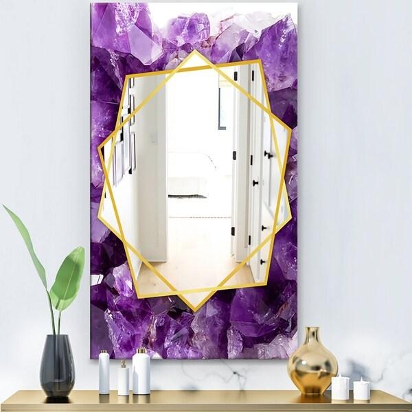 Designart 'Purple Amethyst' Modern Mirror - Frameless Contemporary Wall Mirror - Purple