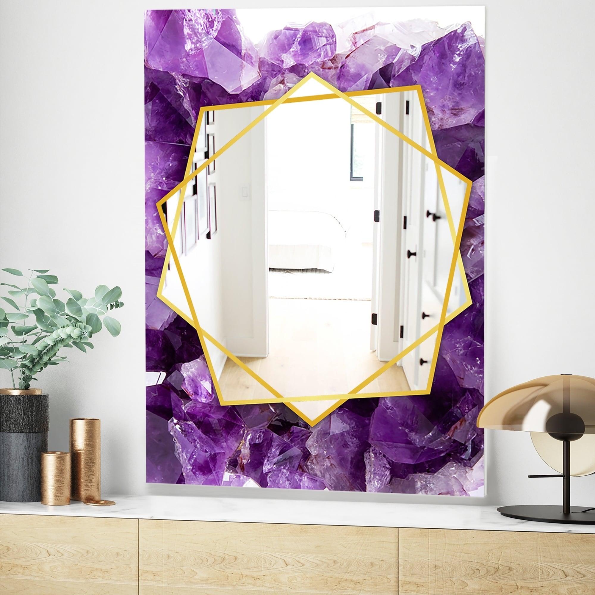 Shop Designart Purple Amethyst Modern Mirror Frameless Contemporary Wall Mirror Overstock 27978304