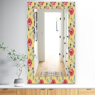 Designart 'Red Rose In Yellow' Traditional Mirror - Frameless Bathroom Mirror - Multi