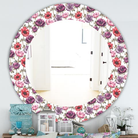 Designart 'Purple Bloom 2' Traditional Mirror - Frameless Oval or Round Bathroom Mirror - Purple