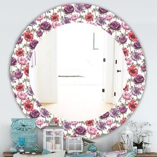 Designart 'Purple Bloom 2' Traditional Mirror - Frameless Oval or Round Bathroom Mirror - Purple